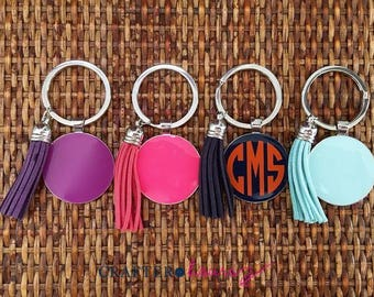 Monogrammed Enamel Key Chain with Tassel - Monogrammed Key Fob - Several Color Combinations Available
