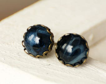 10 mm Stud Earrings, bronze blue