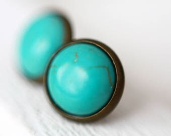 12 mm Stud Earrings, bronze blue