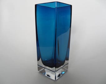 Gral glass vase,Vintage collectible glass ware,heavy glass vase