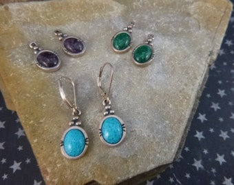 Interchangeable Southwest Vintage Sterling Silver Earrings | Dangling Pieced Earrings in Green, Turquoise, Purple Mosaic Stone CG signed