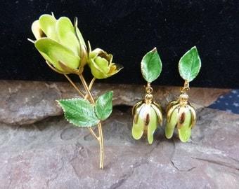 Tortolani Crislu Demi Parure Green Metal Flower Brooch and Clip On Earrings Set