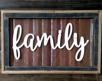 wood signs rustic family sign family sign rustic wood sign rustic home - Metal Signs Home Decor