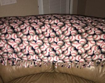 HUGE knotted baseball fleece blanket