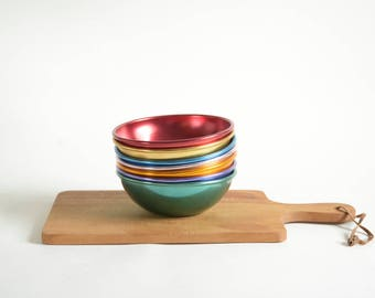 Vintage Anodized Aluminum Cereal Bowls Set of 7 Camping Bowls Atomic Ranch Kitchen RV Cereal Bowls Colorful Metal Bowls