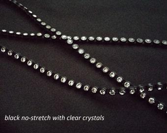 clear crystal/rhinestone trim on black settings--stretch and no-stretch