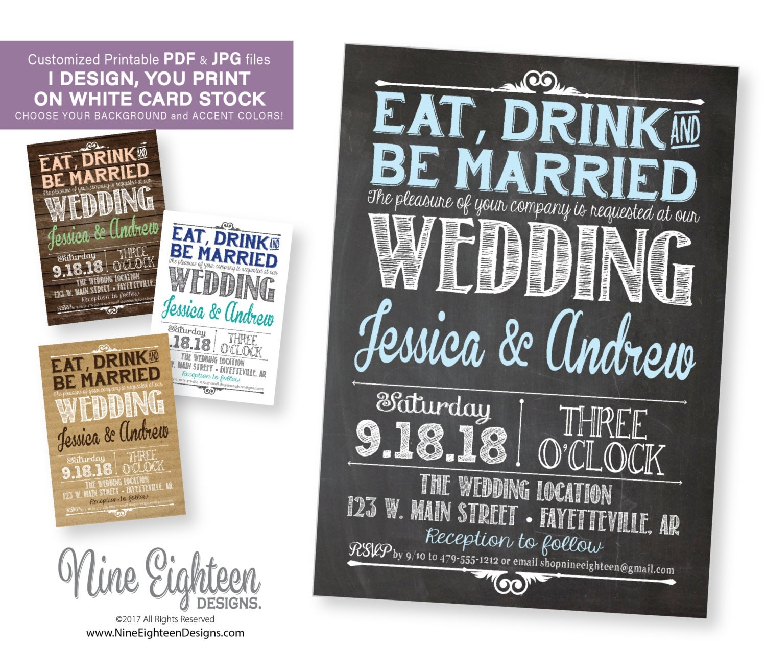 wedding invitation. eat drink and be married. personalized, Wedding invitations
