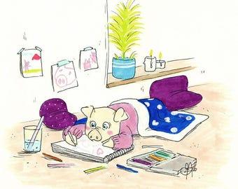 Little piglet | A5 Print