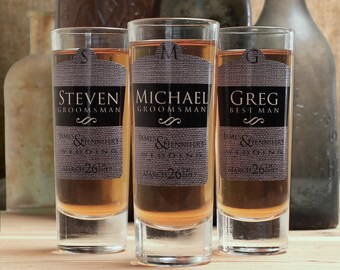 Groomsmen Shot Glasses, Set of 6, Personalized Shot Glasses