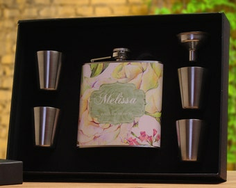 Bridesmaid Gifts, Set of 4, Personalized Flask Gift Set for Bridesmaids, Floral Design, Yellow, Pink, Yellow, Green