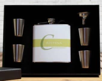 Flasks, Custom Bridesmaid Gifts, Set of 4, Green