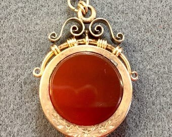 Victorian Rolled-gold and Carnelian Watch Fob Locket- as is.  Free shipping