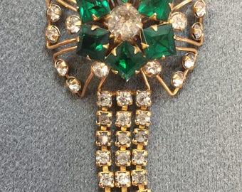 Vintage Retro Gold-filled Green Rhinestone Brooch /Pendant.  Free shipping