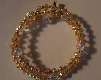 Peach colored ROSARY COIL BRACELET