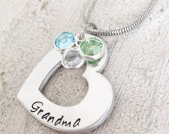 Mothers Day Necklace For Grandma - Gift From Grandkids - Pendant Necklace For Grandma - Grandmother Necklace - Heart Necklace For Grandma