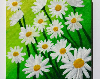 Original Daisy Flowers with Yellow-Green Background Acrylic Painting