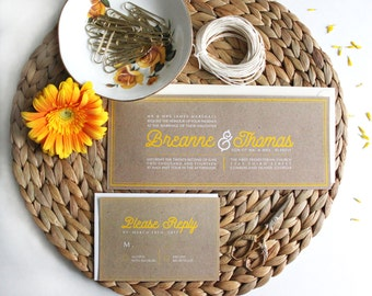 Kraft Wedding Invitation suite with yellow Typography. Yellow Wedding Invitations. Country wedding. Barn wedding. Rustic Wedding Invites