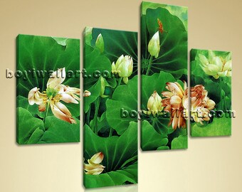 Large Water Lily Pond Canvas Art Abstract Wall Tetraptych Panels print, Large Water Lily Wall Art, Bedroom, San Felix