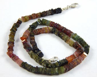 "Beautiful 25% Discount  102.75 ct approx Amazing Multi Color Natural Tourmaline 4 mm Heishi Beads 17"" strands"