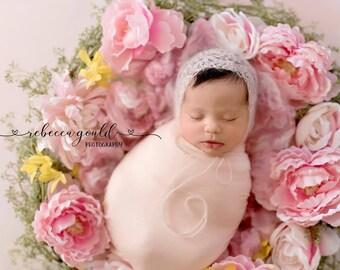 Kidsilk Mohair Pixie Bonnet // Newborn Infant Baby Hat // Shower Gift Photo Prop // Handmade Crochet Lace Vintage Look