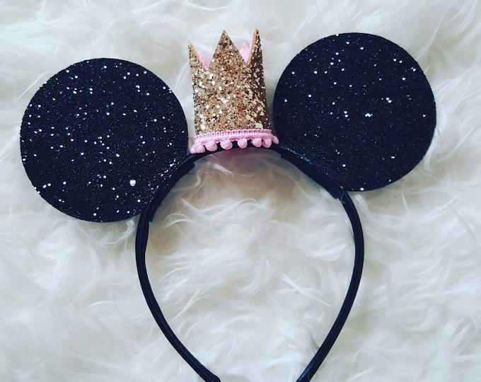 Glittery Princess Mouse Ears    Minnie Mouse Ears Headband   Minnie Mouse Birthday   Minnie Mouse Headband   Minnie Ears   Mouse Ears