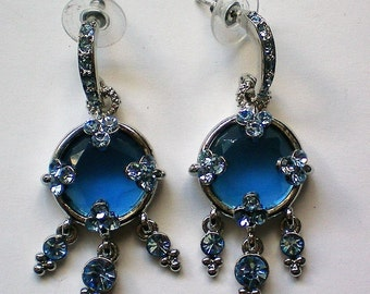 Ice Blue Pierced Dangle Earrings - 5045