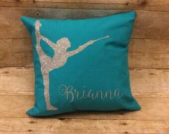 Baton twirler pillow, baton twirler gift, baton gift, twirler room, throw pillow, majorette pillow, twirl pillow, feature twirler pillow,