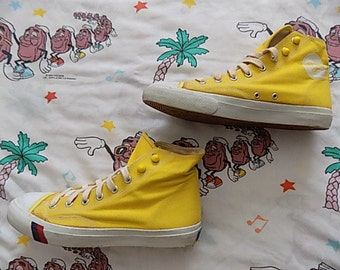 Vintage 80's Pro Keds Hi-Top Sneakers, size 8.5 Mens bright yellow canvas very lightly worn!