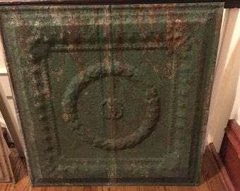 "Antique Tin Ceiling Tile, Original Green Paint, Measures Approx 24""x24""(2' x 2') I have 16 available, listing is for one, combined shipping"