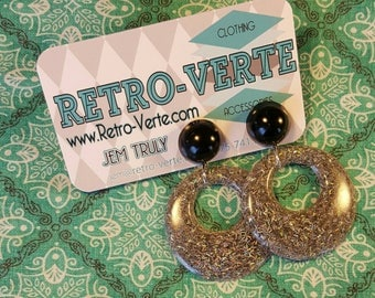 Large Round Hoop Confetti Retro Dangle Earrings