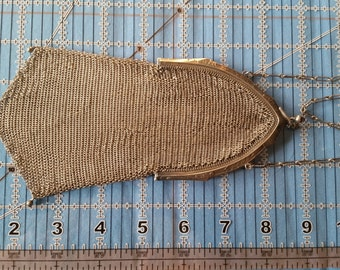 Antique Silver Plated Whiting & Davis Soldered Mesh Flapper Purse
