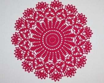 Fuchsia Crochet Doily, Lace and Round Doilies, Flower Doily, Cotton Crochet Placemat, Table Topper, 14 inches