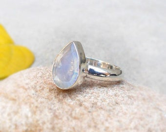 Rainbow Moonstone Pear Ring Women Stacking Ring Birthstone Rings Boho Ring Rainbow Faceted Stone Jewelry Moonstone Ring Sz 5 6 7 8 9 10 11