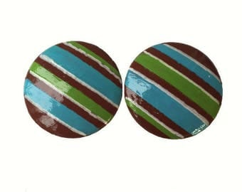 Custom Striped Hand Painted Drawer Pulls Cabinet Knobs