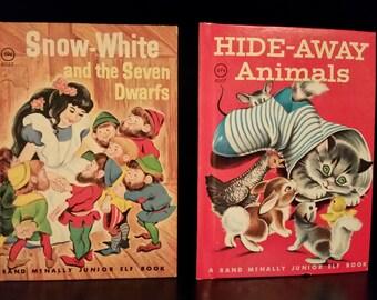 1975 Junior Elf Books //Rand McNally Snow White & Hide-away Animals