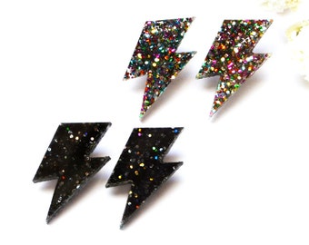 Glitter Lightning Bolt Earrings · Black Glitter Lightning Studs · Rainbow Glitter Lightning Studs · Bowie Inspired