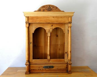 Restored Shrine Box, Prayer Box, Altar Box, Rustic Cabinet, Shadow Box, Pagan Altar, Storage Cabinet, Masonic Art, Masonic Eye, Cabinet