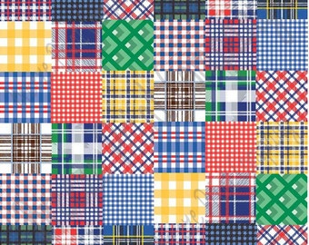 Patchwork quilt plaid craft vinyl sheet - HTV or Adhesive Vinyl -  HTV1836