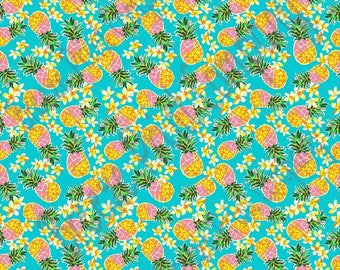 Pineapple flower craft vinyl sheet - HTV or Adhesive Vinyl tropical floral pattern vinyl aqua blue background inspired beach pattern HTV2252