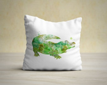 Alligator Pillow Case, Alligator Pillow Cover, Alligator Throw Pillow, Animal Pillow Case, Nursery Pillow, Nursery Decor, Kids Room Decor
