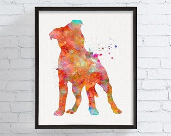 Pitbull Art Print, Watercolor Pitbull, Pitbull Painting, Pitbull Poster, Watercolor Dog, Pit Bull Watercolor Print, Pit Bull Art, Framed Art