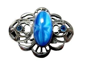 Art Nouveau Blue Moonstone Pin - Vintage Costume Jewelry