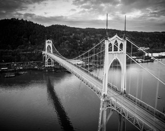 St Johns Bridge Photograph, Portland Oregon, Fine Art Photography, Sunset, Sunrise, PDX, Wall Decor, Bridge Photography, Wall Art, Oregon