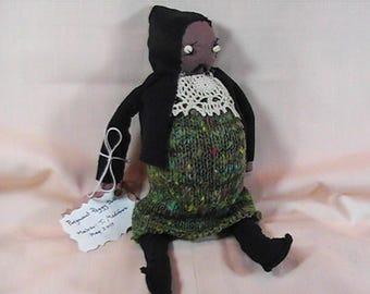 Pregnant Peggy Doll, Handmade Cloth Doll, Stuffed Art Doll, Ugly Doll, Primitive Doll, Pregnant Doll