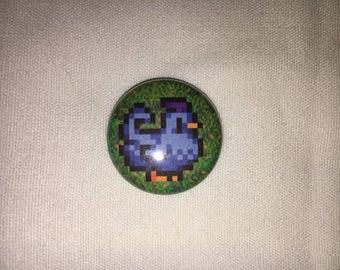 """Stardew Valley Shane's Blue Chicken ( single 1"""" pinback button/magnet )"""