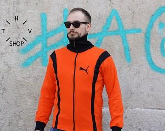 Vintage Puma track top / Unisex zip front jacket / Puma sports jersey / Orange Black oldschool Puma sweatshirt hoodie / 60s 70s M L