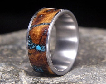 Gambel Oak Burl Turquoise Inlay Titanium Wedding Band or Unique Gift Ring