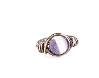 Bohemian Amethyst Wire Wrapped Ring - Copper with Natural Gemstone, Choose Size