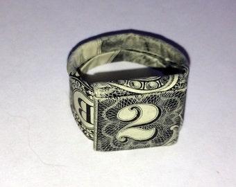 2 Dollar Bill Folded Origami Ring - Size 10 - Money Ring