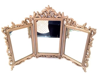 Large Vintage 1963 Gold Triple Mirror by Syroco - Vintage Trifold Mirror - Vintage Triple Mirror - Vintage Gold Triple Mirror Syroco